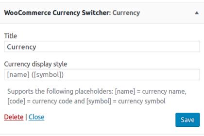 Currency switcher widget