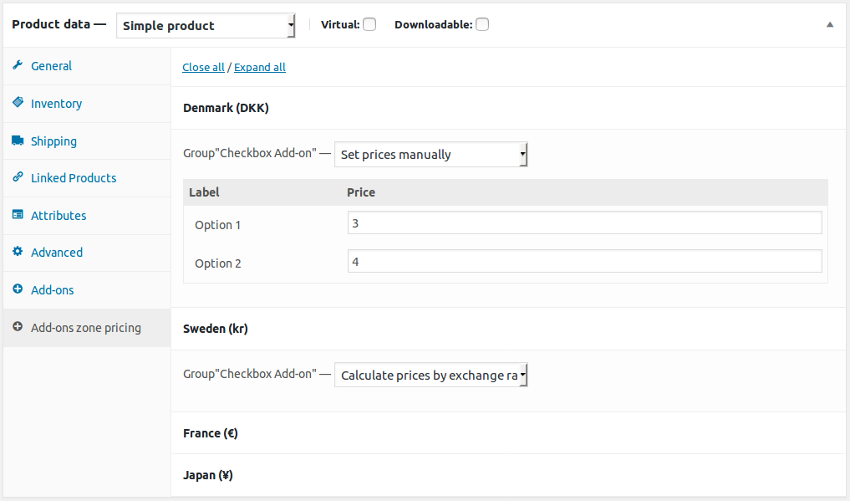 Per-Product Add-on pricing by country