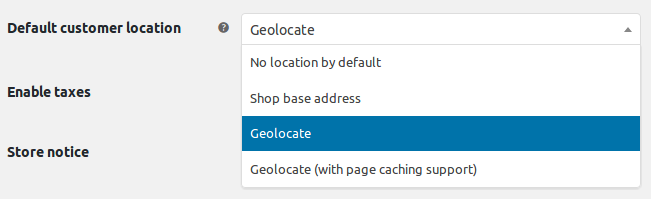Default customer location